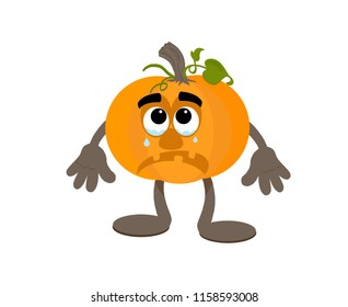 Sad cartoon pumpkin mascot crying.