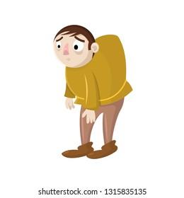 Sad cartoon vector hunchback. Design for print, mascot, emblem, t-shirt, party decoration, sticker.