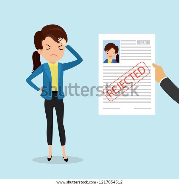 Sad Caucasian Femalehand Holding Cv Resume Stock Vector Royalty