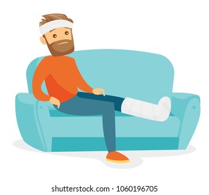 Sad caucasian white man sitting on the couch with broken leg in gypsum. Injured upset patient with fractured leg in gypsum suffering from pain. Vector cartoon illustration isolated on white background