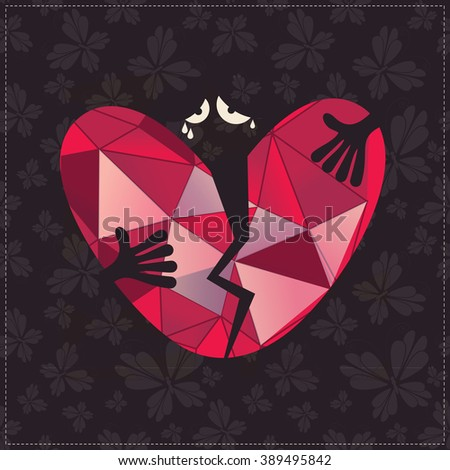 Sad Character Tears Hold Broken Heart Stock Vector Royalty Free