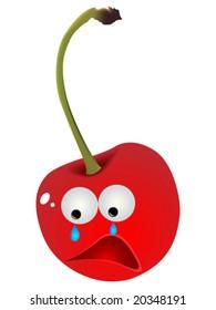 Sad cherry vector illustration