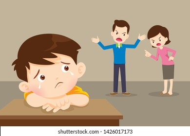 sad child boy crying with angry dad and mom quarreling.Parents fighting children crying.Little boy  is crying because her parents quarrel.