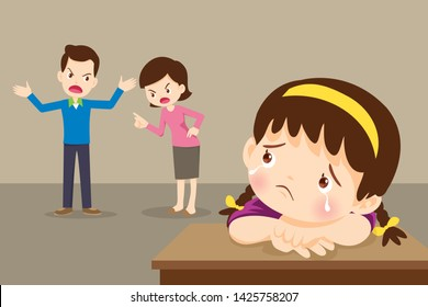 sad child girl crying with angry dad and mom quarreling.Parents fighting children crying.Little girl is crying because her parents quarrel.