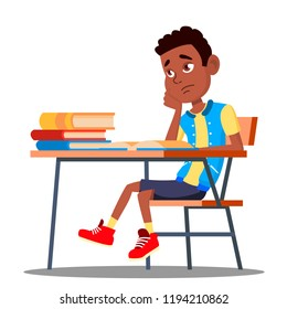 Sad Child Sitting At A Desk In The Classroom Vector. School. Education. Isolated Illustration