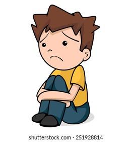 Sad child, vector illustration, isolated white background