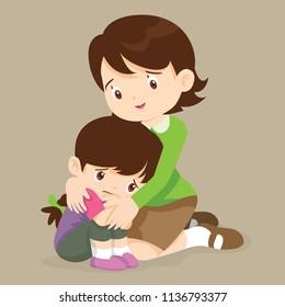 sad children wants to embrace.Teacher Comforting Upset Elementary School Pupil.teacher comforting crying preschool girl.feeling guilty.