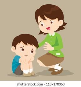sad children wants to embrace.Teacher Comforting Upset Elementary School Pupil.teacher comforting sad boy