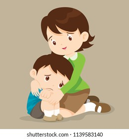 sad children wants to embrace.Teacher Comforting Upset Elementary School Pupil.teacher comforting crying boy. feeling guilty.