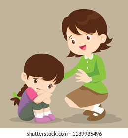 sad children wants to embrace.Teacher Comforting Upset Elementary School Pupil.teacher comforting crying preschool girl.Girl feeling guilty.