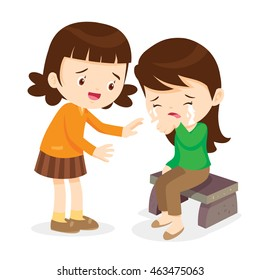 Sad children.Girl Comforting Her Crying Friend.Children Consoling cry isolate background
