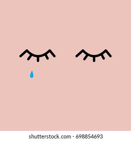 Sad closed eyes with tear