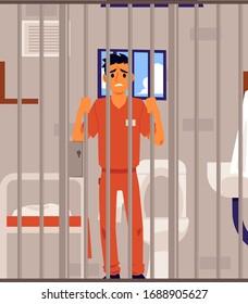 Sad criminal in prison cell looking through metal bars - cartoon man in orange jumpsuit standing with upset face. Flat vector illustration of male prisoner.