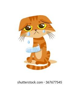 Sad Crying Cat Cartoon vector illustration. Cat with splinting leg.