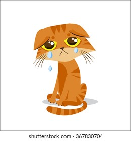 Sad Crying Cat Cartoon vector illustration. Cat with tears.