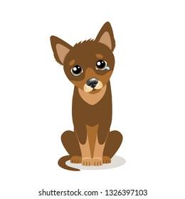 Sad Crying Dog Cartoon Vector Illustration. Sitting Dog With Tears. Crying Pet Face. Flat style Cartoon Illustration of Cute Sad Animals.