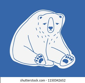 Sad cute adult polar bear hand drawn with contour lines. Doodle drawing of sitting unhappy lonely cartoon Arctic carnivorous animal isolated on blue background. Monochrome vector illustration.