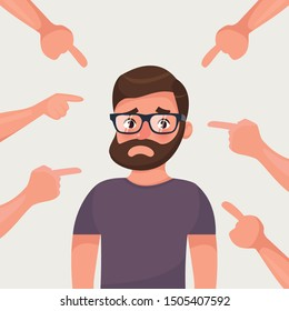 Sad, depressed, ashamed man surrounded by hands pointing him out with fingers. Social disapproval blame and accusation concept. Flat style character vector illustration