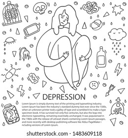 Sad and depressed girl sitting. Depression girl doodle. Heartbreak and sad doodle woman. Depression signs and symptoms. Concept of stress, sadness, depression, pain. Place for text.