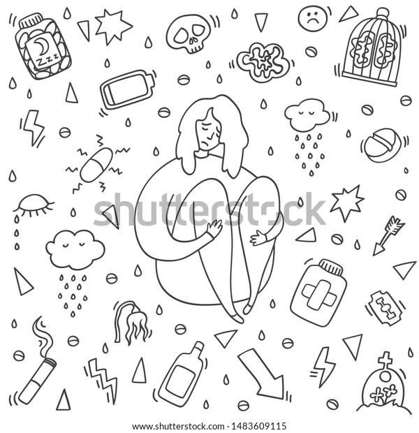 Sad Depressed Girl Sitting Depression Girl Stock Vector Royalty Free 1483609115