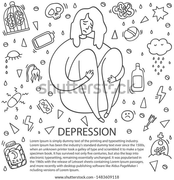 Sad Depressed Girl Sitting Depression Girl Stock Vector Royalty Free 1483609118