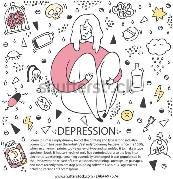 Sad Depressed Girl Sitting Depression Girl Stock Vector Royalty Free 1484497574