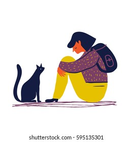 Sad and depressed girl sitting on the floor with her cat. Creative vector illustration. Sad teenager.