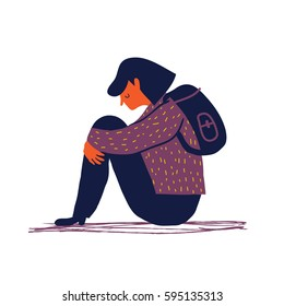 Sad and depressed girl sitting on the floor. Depressed teenager. Sad woman Unhappy and stressed student. Creative vector illustration.