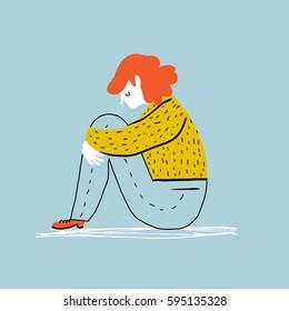 Sad and depressed girl  sitting on the floor. Creative vector illustration.