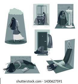Sad, depressed, unhappy  girl in different poses. Mental health problems and treatment of depression psychological help. Vector illustration in cartoon style