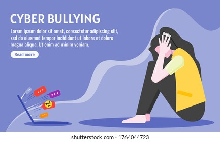 Sad Depressed Young Woman Girl after Insult, Swear & Verbal Abuse in The Internet, Cyber Bullying. Depression, Stress & Mental Health Expression. Can be Used for Web, Mobile, Infographic Post & Print.