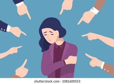 Sad or depressed young woman surrounded by hands with index fingers pointing at her. Concept of quilt, accusation, public censure and victim blaming. Flat cartoon colorful vector illustration.