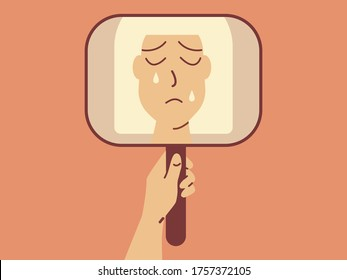 Sad and discouraged crying female character looking in the mirror. Selfcare vector concept.