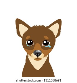 Sad Dog Face Emoticon Vector Icon. Vector Head Cute Sad Face Pet Animal. Crying Dog Emoji. Cute cartoon dog character. Pet collection. Flat design style. White background. Isolated.