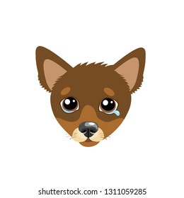 Sad Dog Face Emoticon Vector Icon. Vector Head Cute Sad Face Pet Animal. Crying Dog Emoji. Cute cartoon character. Pet collection. Flat design style. White background. Isolated.