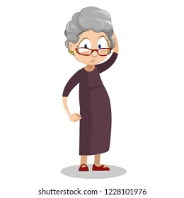 Sad elderly woman in glasses standing and holding his head. Upset grey haired granny with headache cartoon animated personage. Unhealthy female pensioner wearing brown dress vector illustration.