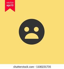 Sad emoji vector icon. Sad smile icon. Scary emoji icon. Yellow background. EPS 10 vector sign.