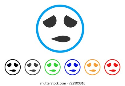 Sad Emoticon Smile rounded icon. Style is a flat sad emoticon smile gray symbol inside light blue circle with black, gray, green, blue, red, orange color versions.