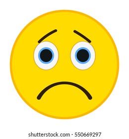 Sad emoticon. Sorrowful emoji vector illustration.