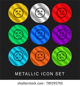 Sad emoticon square face 9 color metallic chromium icon or logo set including gold and silver