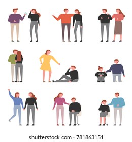 Sad emotional characters and comforting people vector illustration flat design