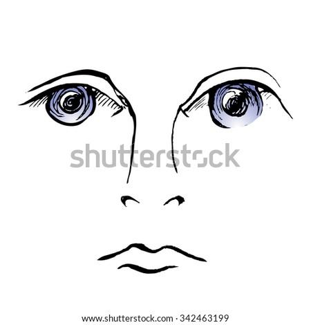 Sad Eyes Hand Draw Stock Vector Royalty Free 342463199 Shutterstock