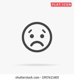 Sad Face flat vector icon. Hand drawn style design illustrations.