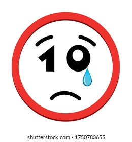 Sad face icon with number 10 for eyes