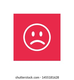 Sad face red icon  for Apps and Websites.