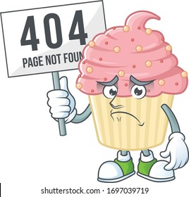 Sad face of strawberry cupcake cartoon character raised up 404 boards