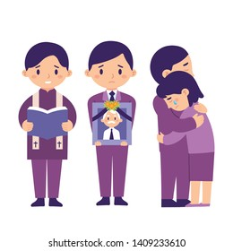 Sad family because they lost family part, funeral ceremony with crying family, rest in peace and sad lost family concept