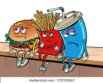 sad fast food characters fries Cola Burger. Comics caricature pop art retro illustration drawing