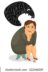 Sad fat girl sitting on a small chair and suffers