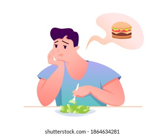 Sad fat guy eat green salad vector illustration. Cartoon man character sitting at table, eating diet healthy food, dreaming of unhealthy burger isolated on white.